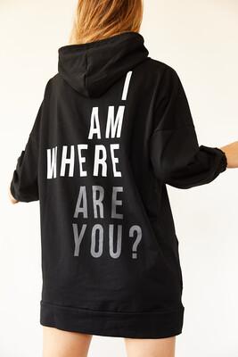 XHAN - Siyah Sırt Baskılı Sweatshirt Elbise 0YXK8-44006-02