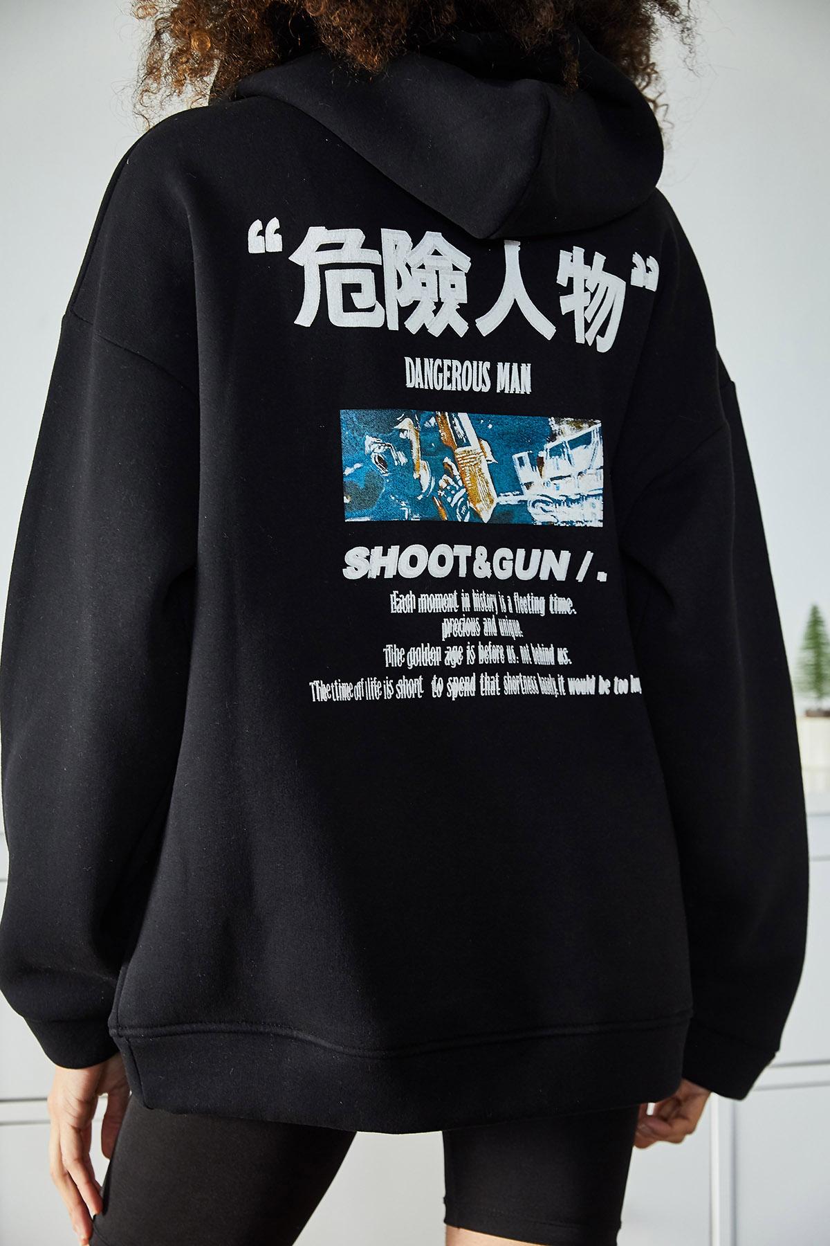 XHAN - Siyah Sırtı Baskılı Kapüşonlu Polarlı Kışlık Oversize Sweatshirt 1KXK8-44540-02