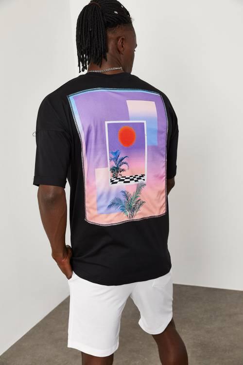 XHAN - Siyah Sunshine Baskılı Oversize T-Shirt 1YXE1-45091-02
