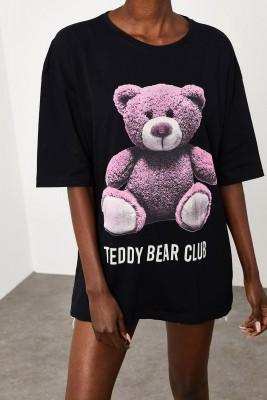 XHAN - Siyah Teddy Bear Baskılı Salaş T-Shirt 2KXK1-45433-02