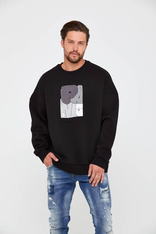 XHAN - Siyah Üç İplik Baskılı Sweatshirt 2KXE8-45498-02