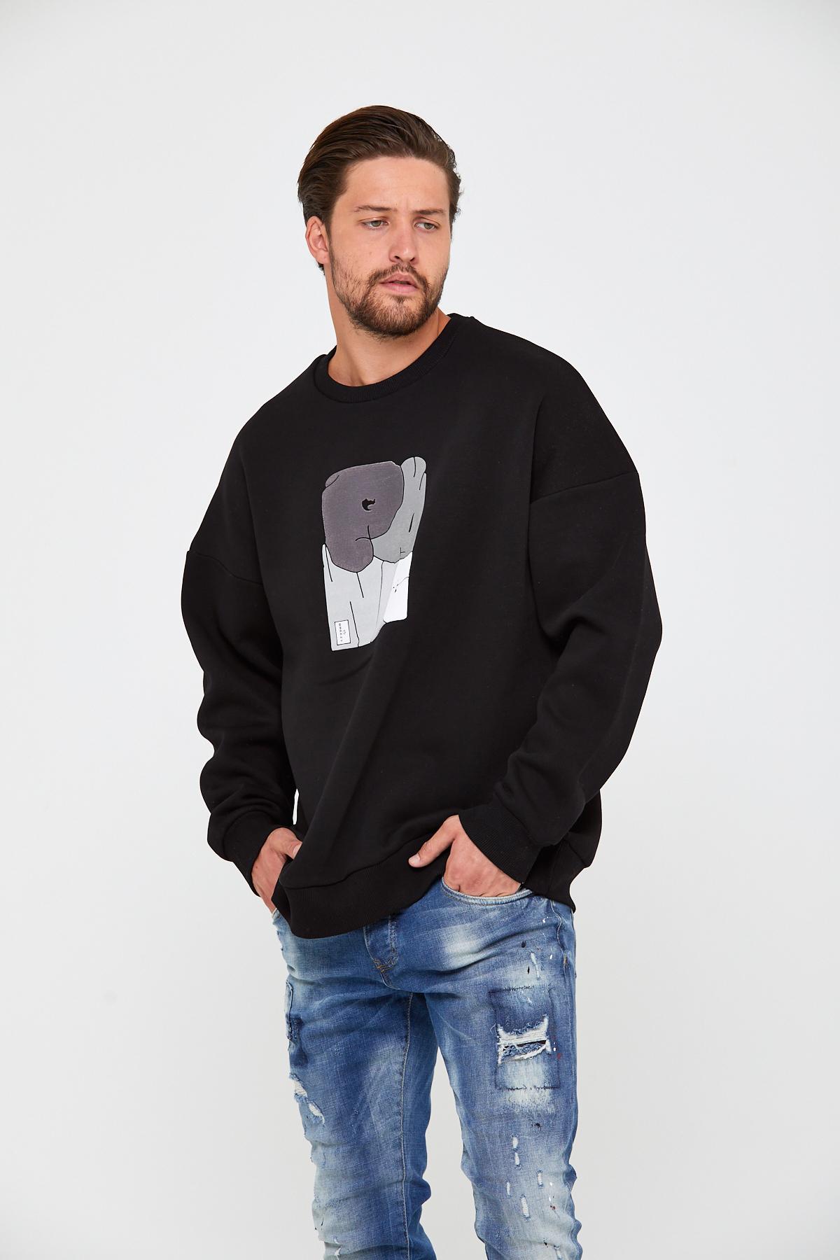 Siyah Üç İplik Baskılı Sweatshirt 2KXE8-45498-02