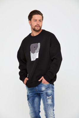Siyah Üç İplik Baskılı Sweatshirt 2KXE8-45498-02 - Thumbnail