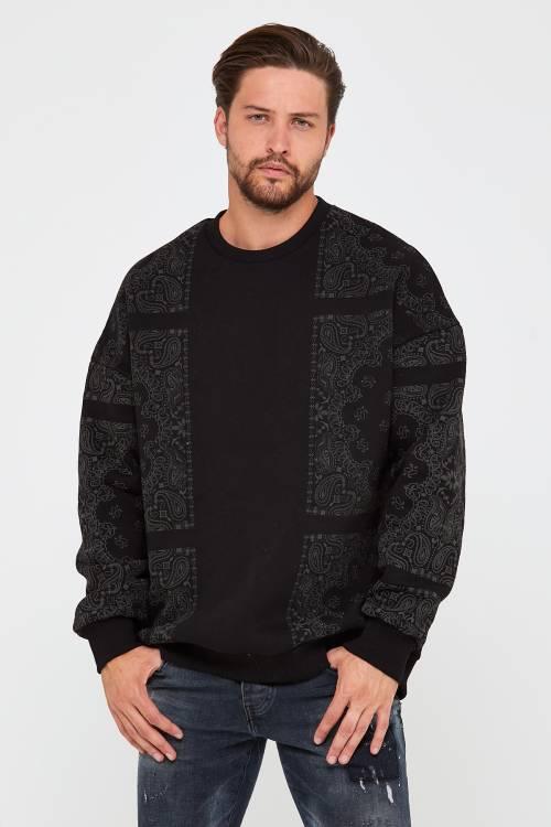 XHAN - Siyah Üç İplik Baskılı Sweatshirt 2KXE8-45499-02
