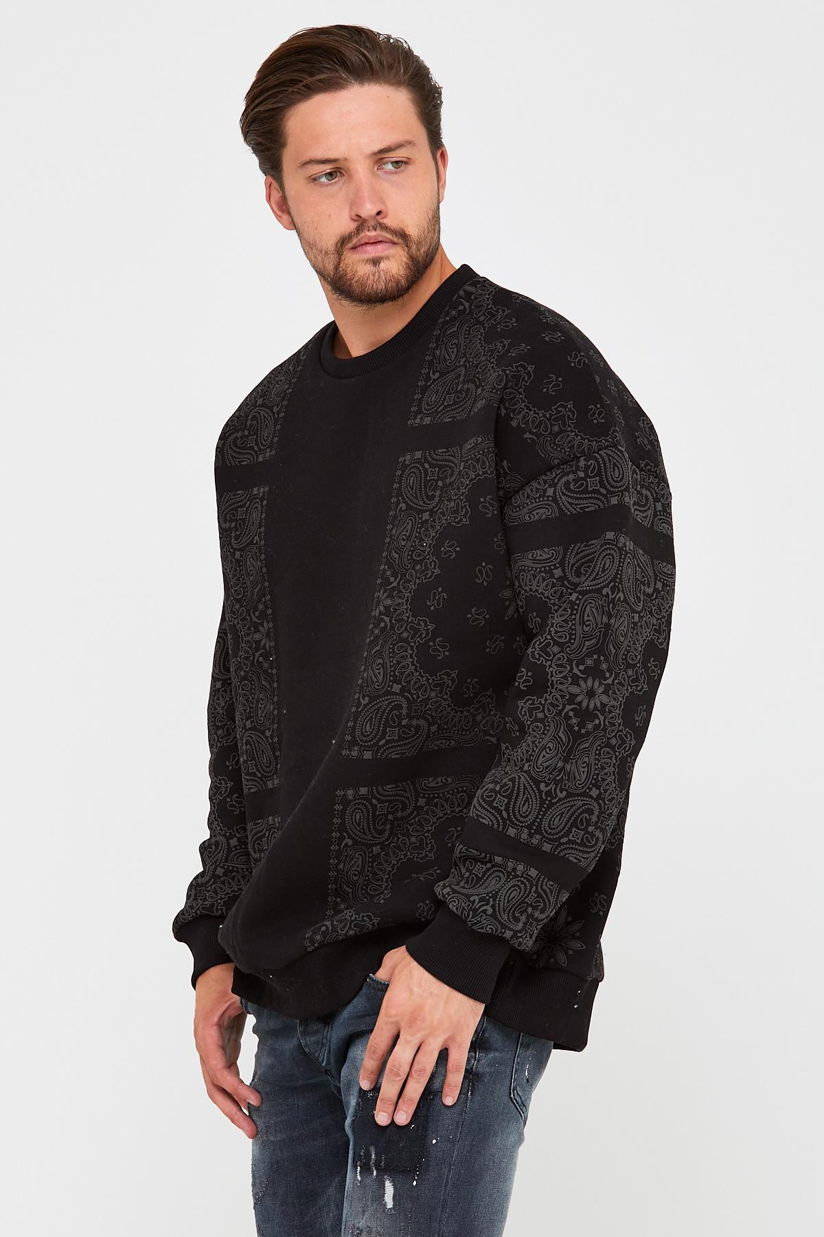 Siyah Üç İplik Baskılı Sweatshirt 2KXE8-45499-02