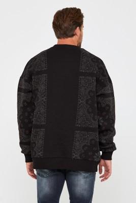 Siyah Üç İplik Baskılı Sweatshirt 2KXE8-45499-02 - Thumbnail