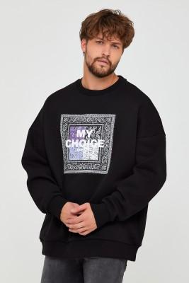 XHAN - Siyah Üç İplik Baskılı Sweatshirt 2KXE8-45500-02
