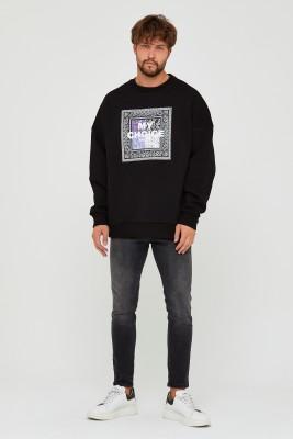 Siyah Üç İplik Baskılı Sweatshirt 2KXE8-45500-02 - Thumbnail