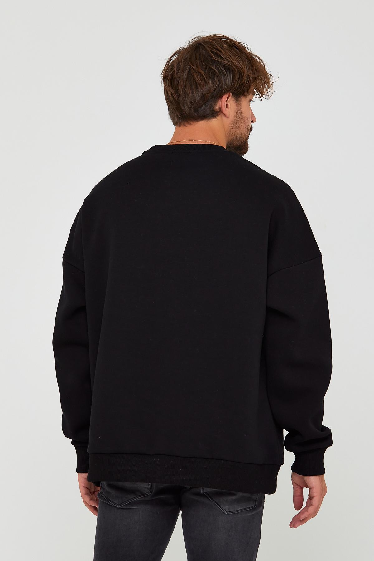 Siyah Üç İplik Baskılı Sweatshirt 2KXE8-45500-02