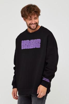 XHAN - Siyah Üç İplik Baskılı Sweatshirt 2KXE8-45501-02