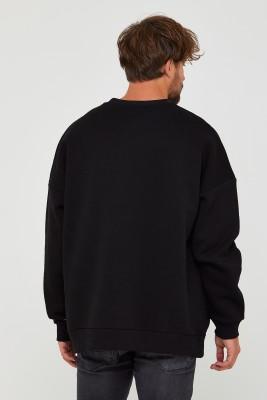 Siyah Üç İplik Baskılı Sweatshirt 2KXE8-45501-02 - Thumbnail