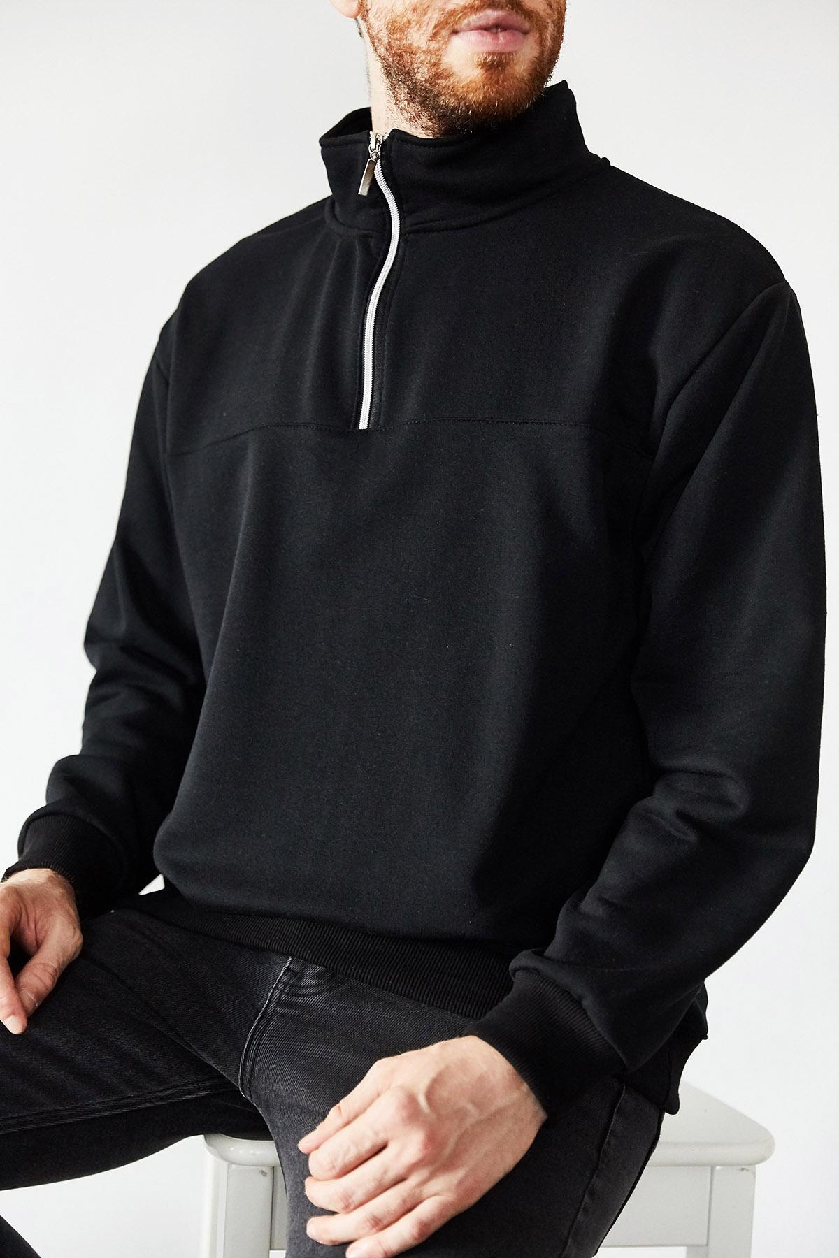 XHAN - Siyah Yakası Fermuarlı Sweatshirt 1KXE8-44172-02