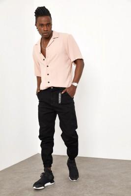 XHAN - Siyah Yandan Cepli Jogger Pantolon 1YXE5-44987-02