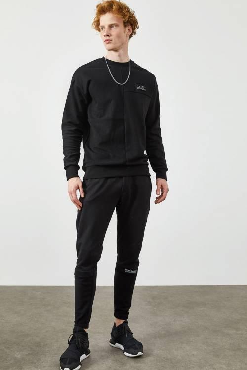 XHAN - Siyah Yazı Detaylı İkili Sweat Takım 2KXE8-45343-02