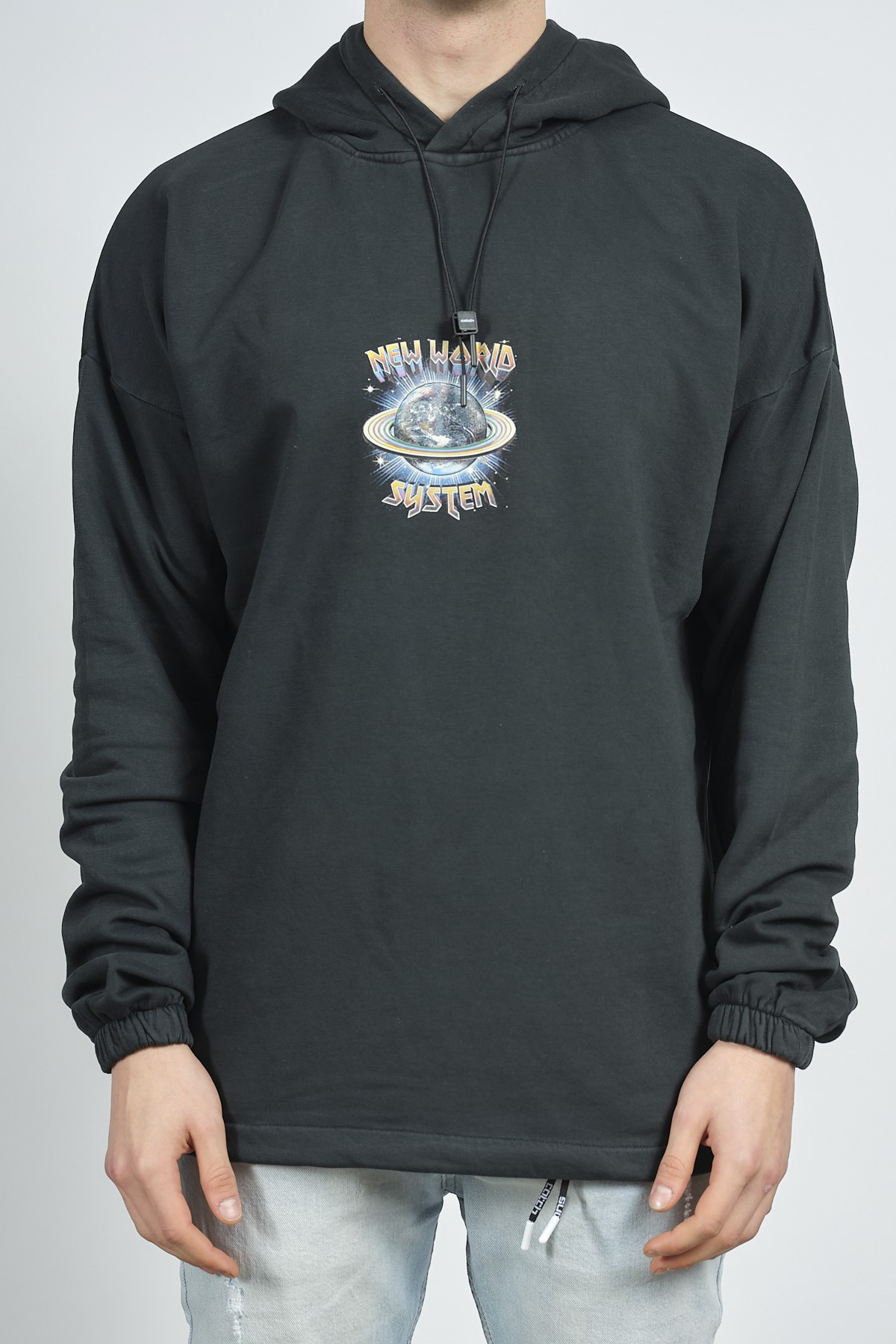 XHAN - Siyah Yıkamalı Baskılı Sweatshirt 1KXE8-44281-02
