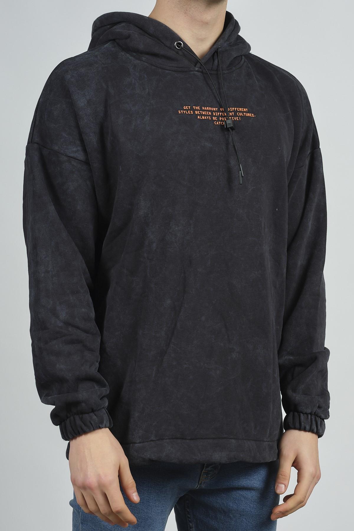 - Siyah Yıkamalı Baskılı Sweatshirt 1KXE8-44282-02