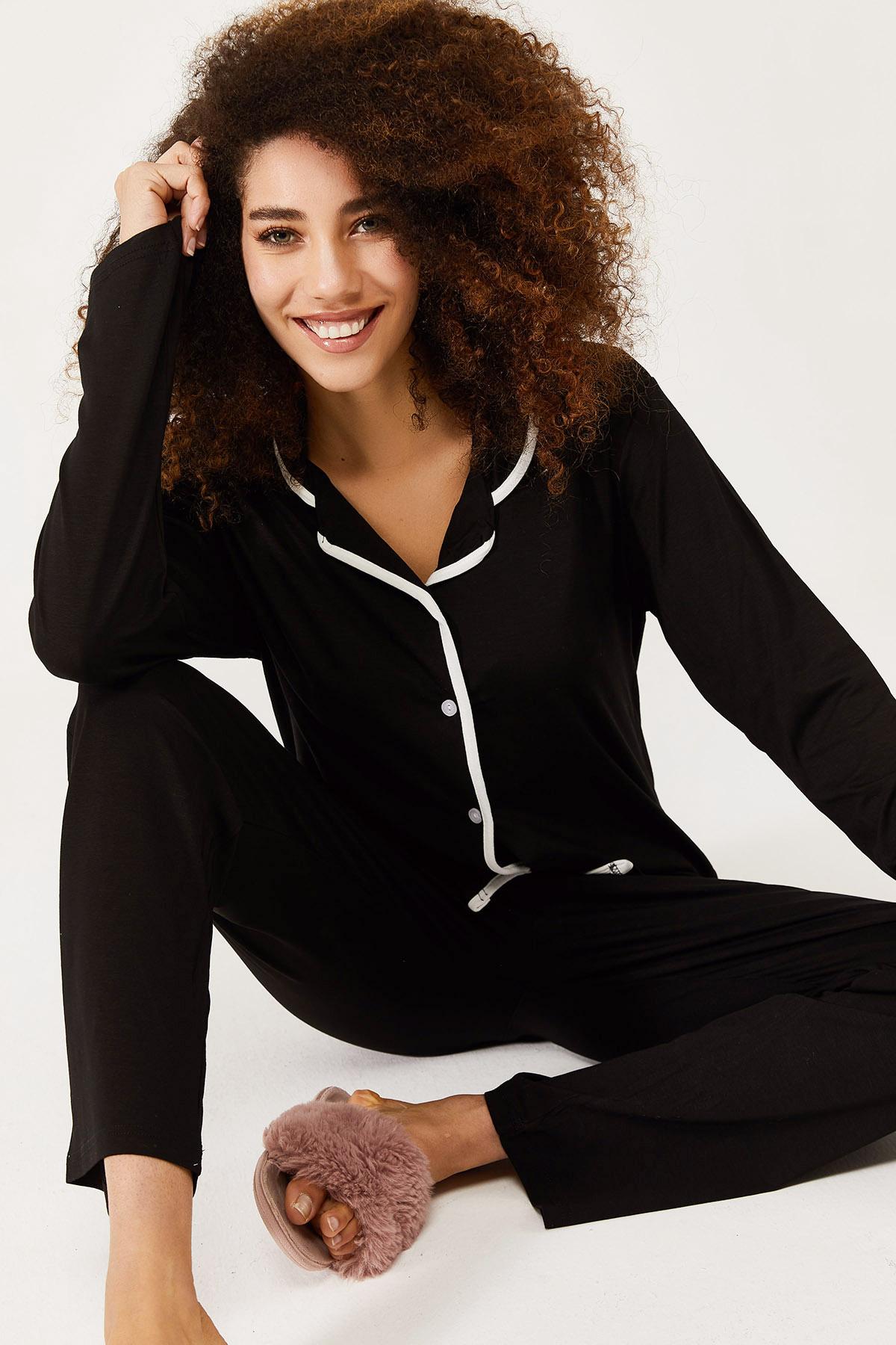 XHAN - Siyah Yumuşak Dokulu Esnek Örme Pijama Takımı 1KXK8-44581-02