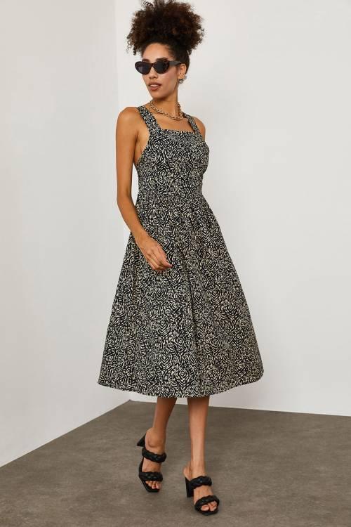 XHAN - Siyah Zebra Desenli Elbise 1YXK6-45251-02