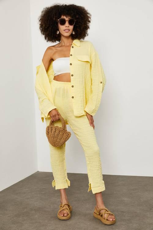 XHAN - Soft Sarı Bürümcük Kumaş İkili Takım 1YXK2-45150-63