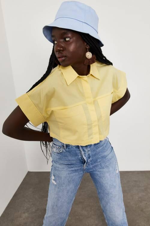 XHAN - Soft Sarı Cepli Crop Gömlek 1YXK2-45056-63
