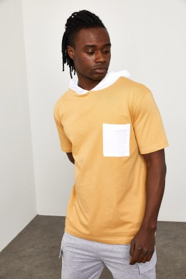 XHAN - Soft Sarı Kapüşonlu Önü Cepli T-shirt 1YXE8-44965-63