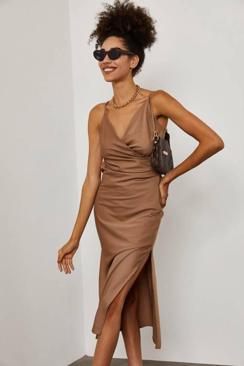 XHAN - Somon İp Askılı Saten Elbise 1YXK2-45280-88