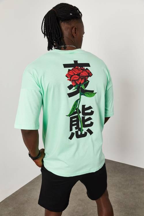 XHAN - Su Yeşili Baskı Desenli Oversize T-Shirt 1YXE1-45084-38