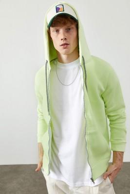 XHAN - Su Yeşili Fermuarlı Kapüşonlu Basic Sweatshirt 2KXE8-45378-38