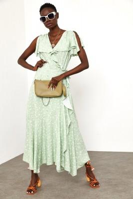 XHAN - Su Yeşili Fırfırlı Viskon Elbise 1YXK6-45003-38