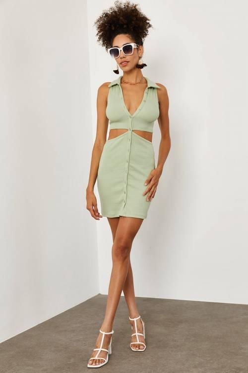 XHAN - Su Yeşili Gömlek Yakalı Elbise 1YXK6-45188-38