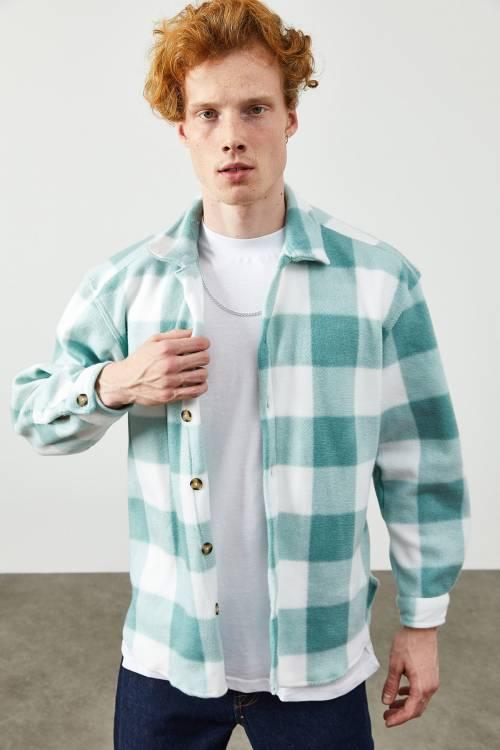 XHAN - Su Yeşili Kare Desen Gömlek 2KXE2-45335-38
