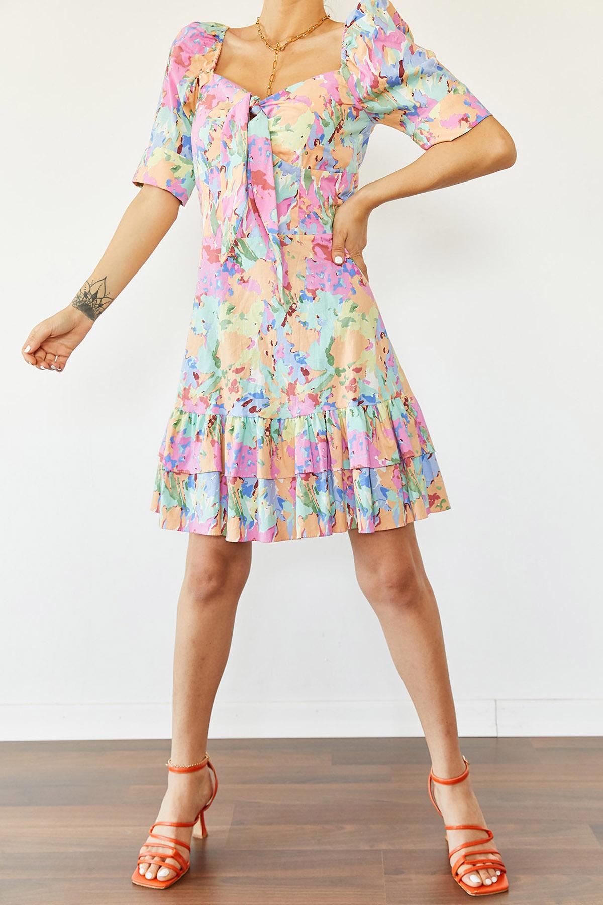 XHAN - Turkuaz Eteği Fırfırlı Desenli Elbise 1KXK6-44684-13