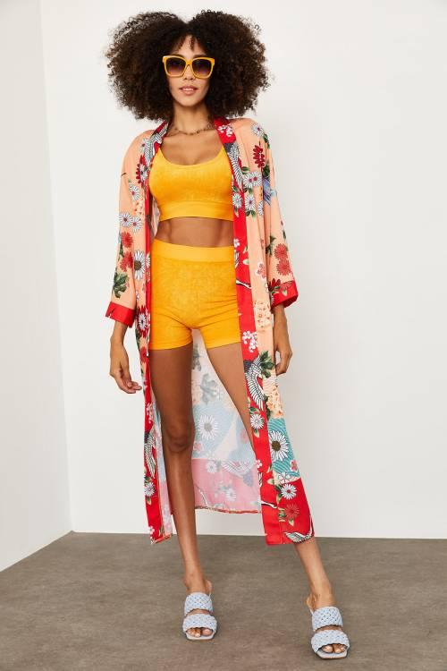 XHAN - Turuncu Beli Bağlamalı Uzun Kimono 1YXK4-45184-11