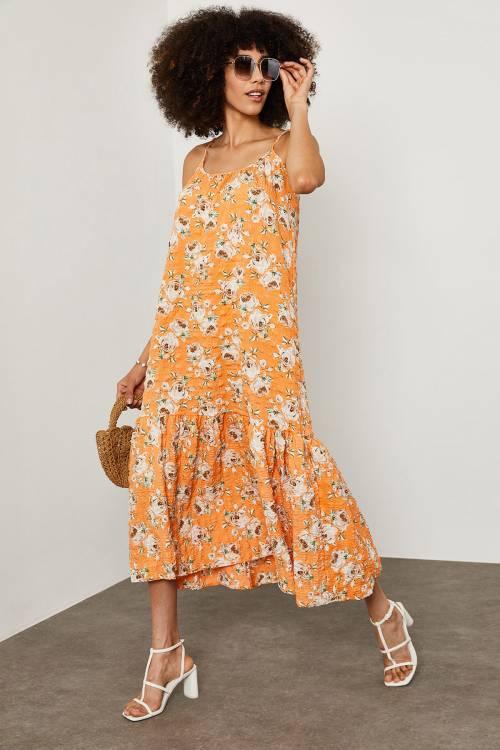 XHAN - Turuncu Çiçek Desenli Gofre Elbise 1YXK6-45128-11