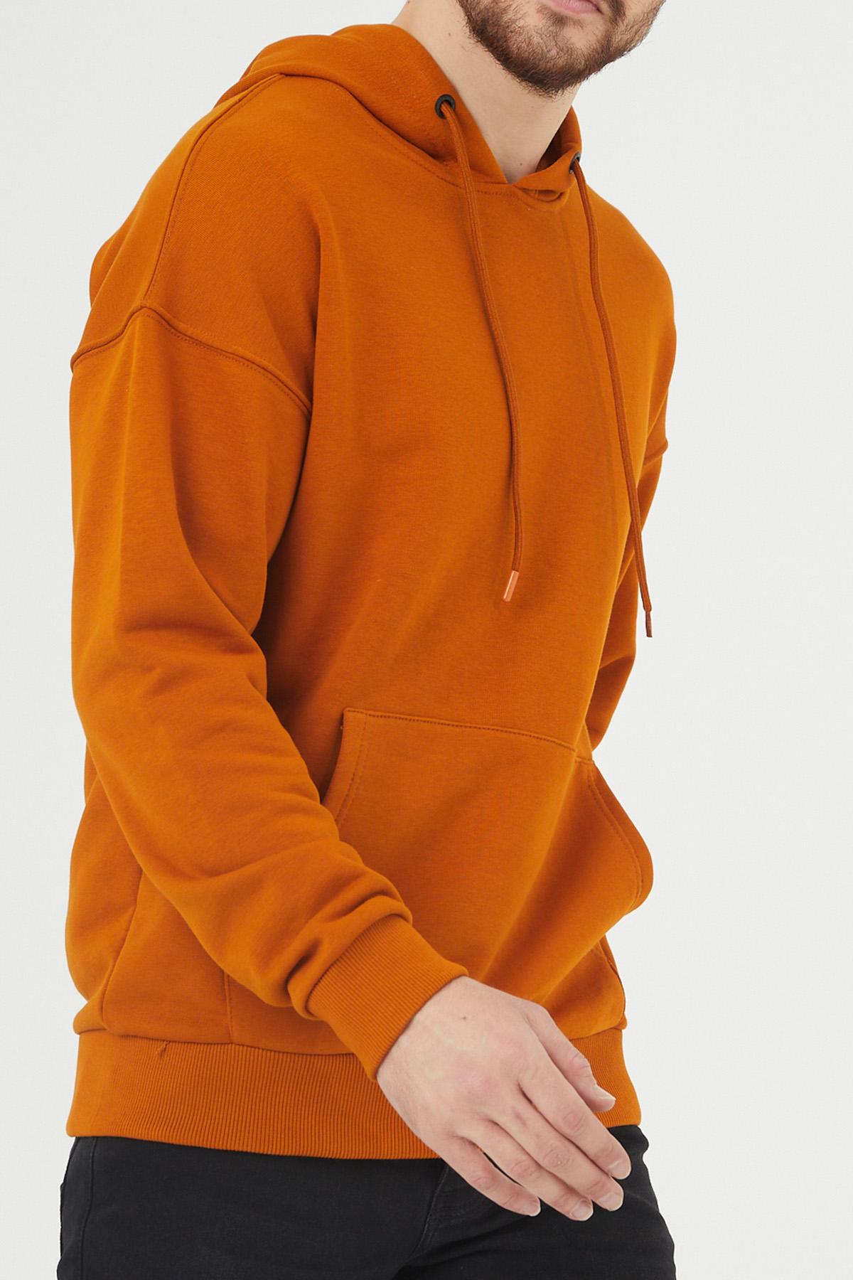 XHAN - Turuncu Kanguru Cepli Kapüşonlu Sweatshirt 1KXE8-44398-11