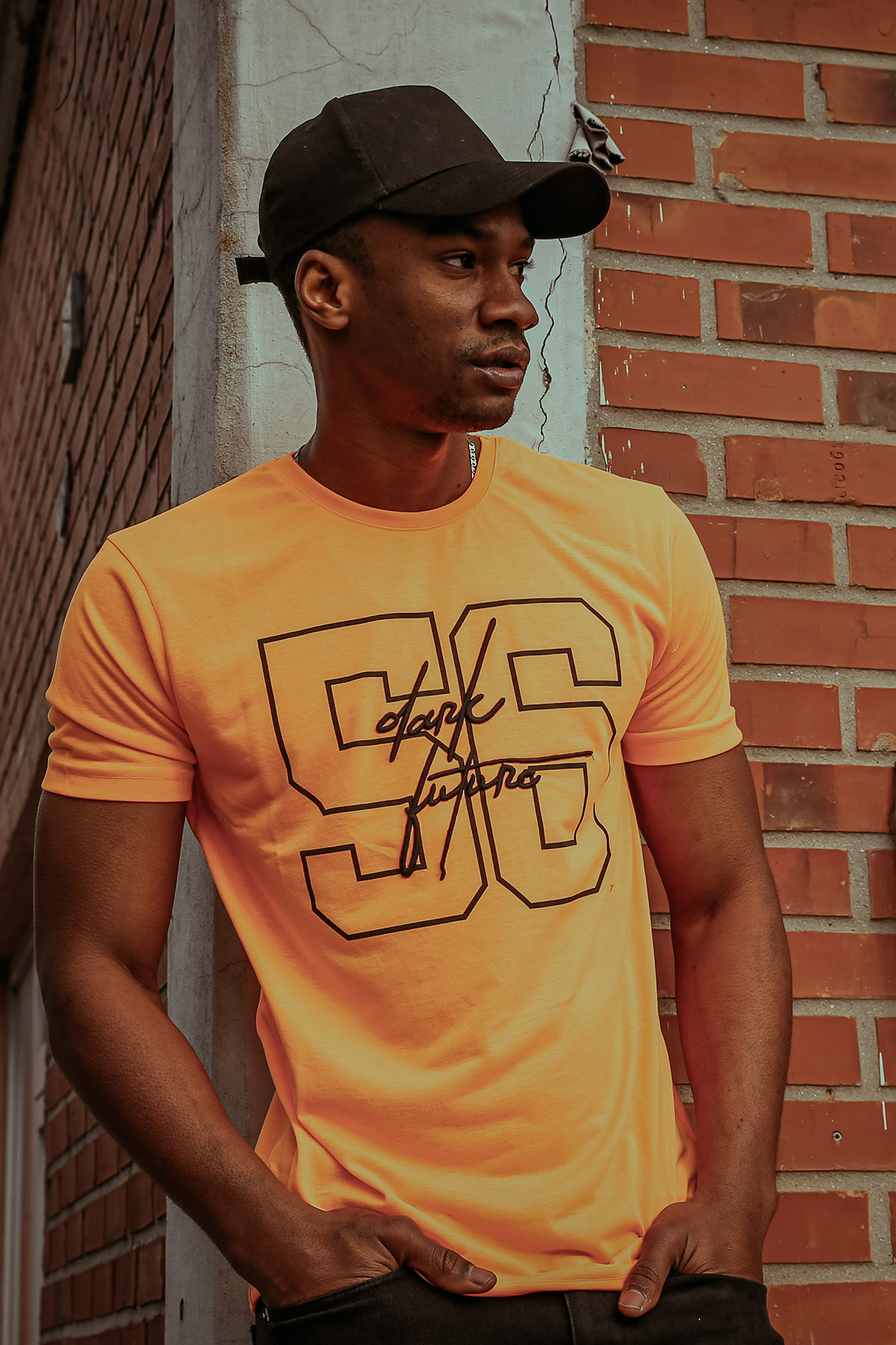 XHAN - Turuncu Naskışlı & Baskılı T-Shirt 1KXE1-44598-11