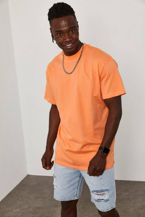 XHAN - Turuncu Oversize T-Shirt 1KXE1-44667-11