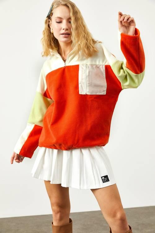 XHAN - Turuncu Renk Geçişli Fermuar Detaylı SweatShirt 2KXK8-45505-11