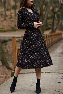 XHAN - Yakası Bağlamalı Çiçek Desenli Elbise 9YXK6-41728-02
