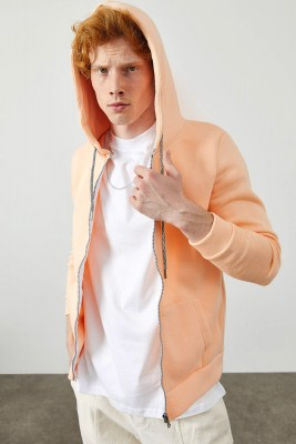 XHAN - Yavruağzı Fermuarlı Kapüşonlu Basic Sweatshirt 2KXE8-45378-21