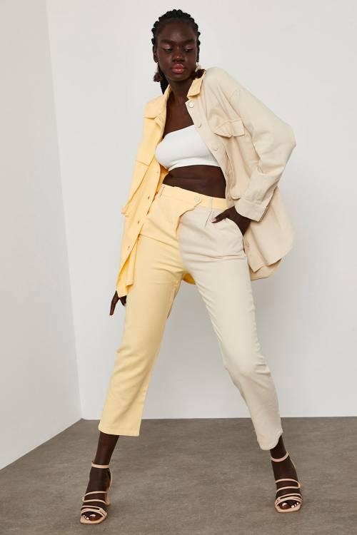 XHAN - Yavruağzı İki Renk Beli Kemerli Pantolon 1YXK5-45074-21