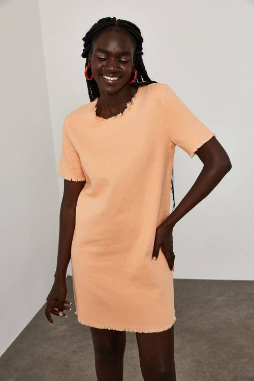 XHAN - Yavruağzı Yuvarlak Yaka İnce Kot Elbise 1YXK6-45067-21