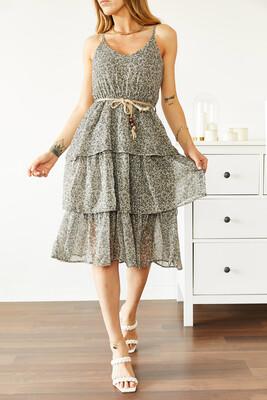 XHAN - Yeşil Askılı Desenli Şifon Elbise 0YXK6-43866-08