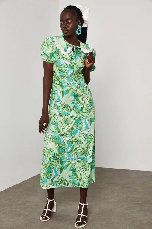 XHAN - Yeşil Bebe Yaka Vintage Elbise 1YXK6-45061-08