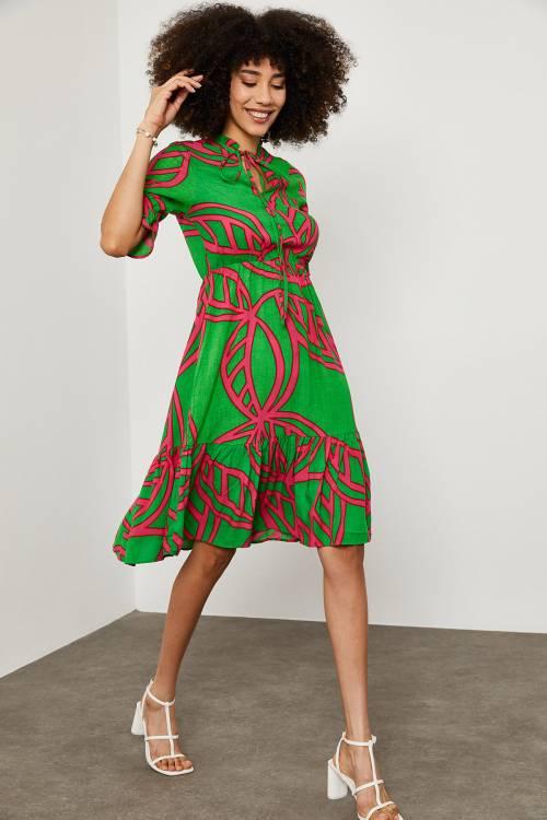 XHAN - Yeşil Desenli Yakası Bağlamalı Elbise 1YXK6-45130-08