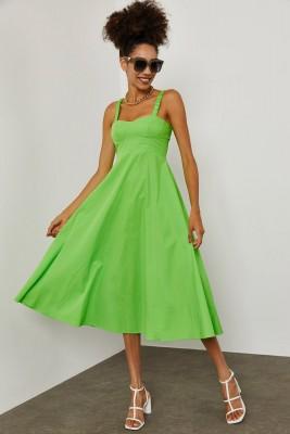 XHAN - Yeşil Dikişli Pamuk Elbise 1YXK6-45250-08