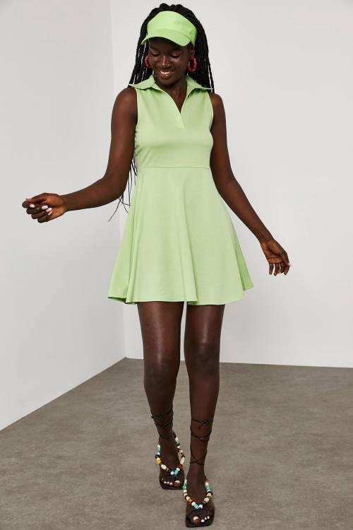 XHAN - Yeşil Gömlek Yaka Mini Elbise 1YXK6-45062-08