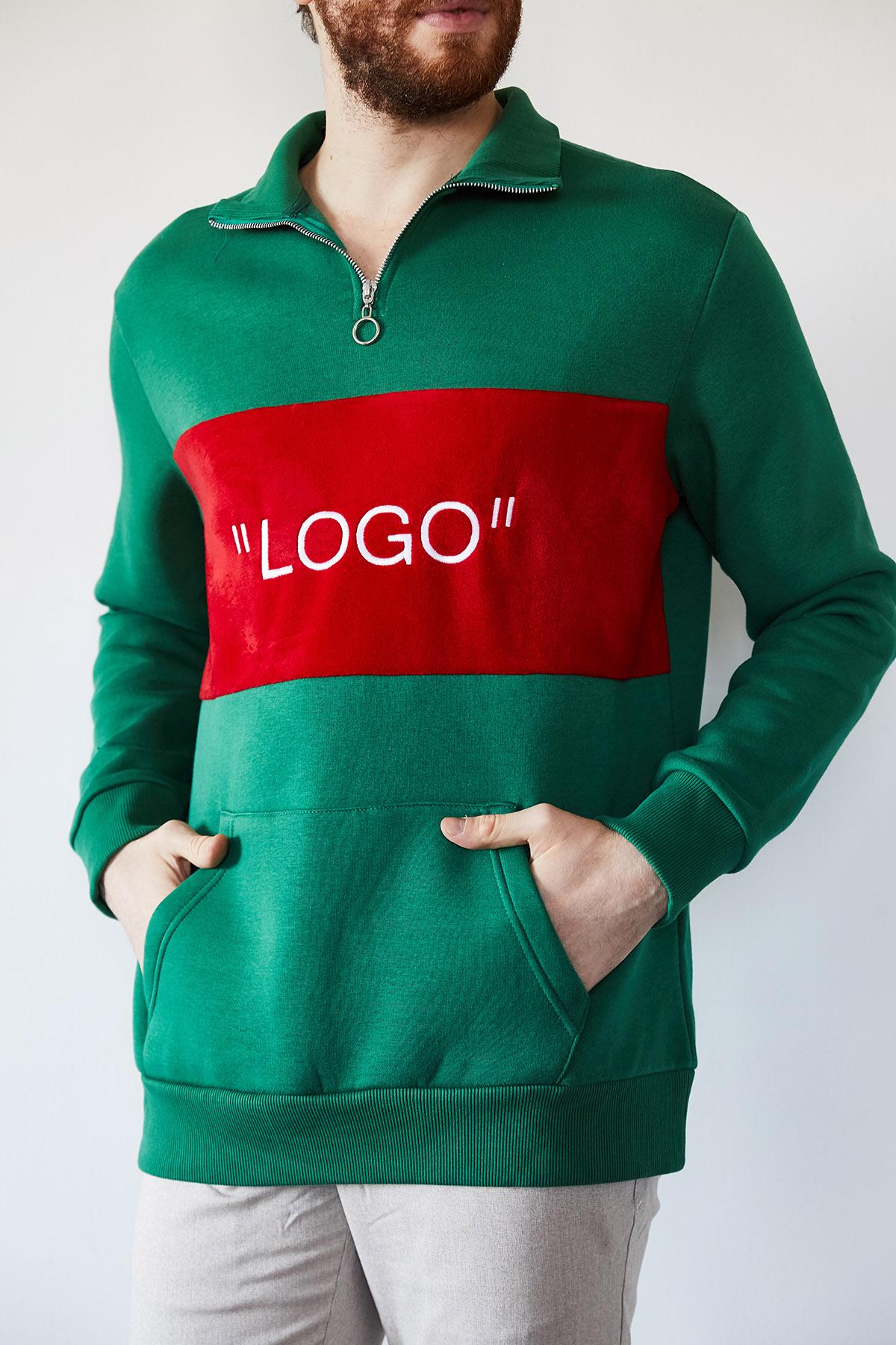 - Yeşil Nakışlı Üç İplik Sweatshirt 1KXE8-44231-08