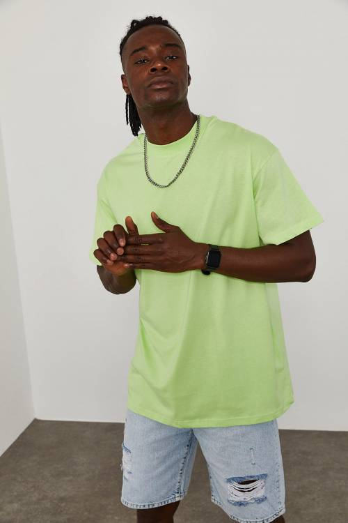 XHAN - Yeşil Oversize T-Shirt 1KXE1-44667-08