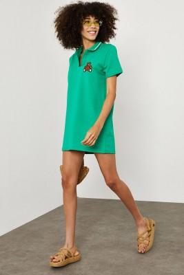 XHAN - Yeşil Polo Yaka Ayııcık Baskılı Elbise 1YXK6-45144-08